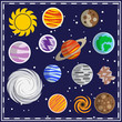 Set of stars and planets. Space theme. Vector illustration.