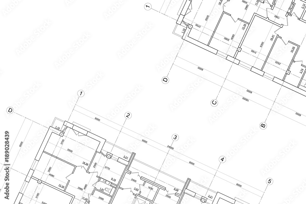 Fototapeta Architectural technical drawing- background
