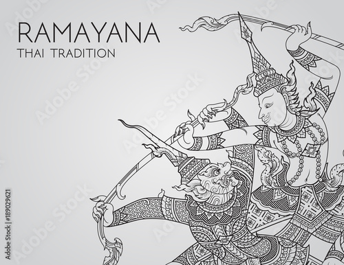 Fotografía Rama battle a giant of thai tradition style for greeting card design