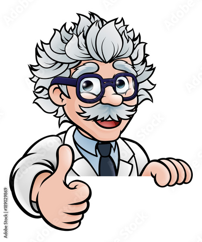 Scientist Cartoon Character Sign Thumbs Up Tableau sur Toile