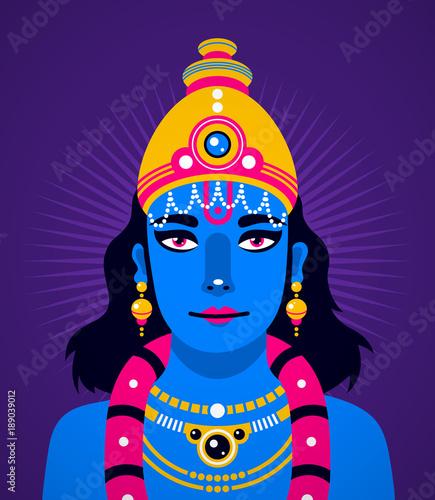 Illustration of Krishna on deep violet background Canvas Print