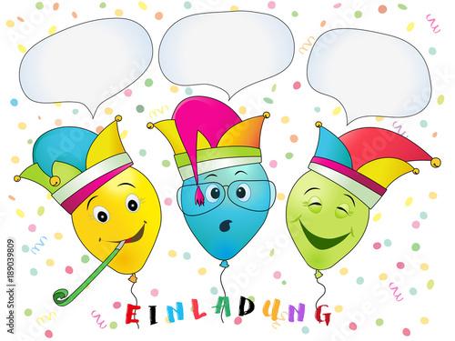 Faschings Party Einladung Lustige Faschings Luftballons Mit Helau
