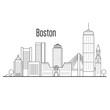 Boston city skyline - downtown cityscape, city landmarks in liner style