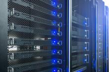 Servers Close Up. Modern Datacenter. Cloud Computing. Datacenter With Flashing Lights. Big Data