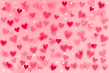 3D Pink And Red Heart Shape And White Dot On Sweet Pink Wallpaper With Copy Space. Hand Drawn Illustration Raster Pattern Love Theme On Valentine's Day Concept Use For Product Display And Background.