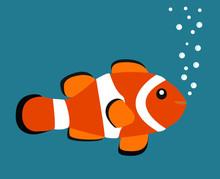 Cute Orange Clown Fish Vector ...