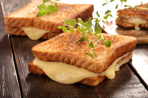 Photo Fresh toast with cheese and herbs