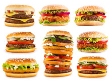 Various Hamburgers Isolated On...