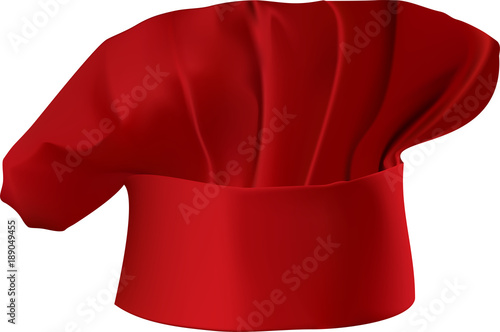 Vector illustration of a red chef's hat isolated on white background Canvas Print