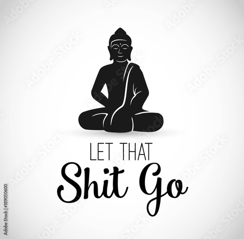 Leinwand Poster Funny Illustration with Buddha meditating vector