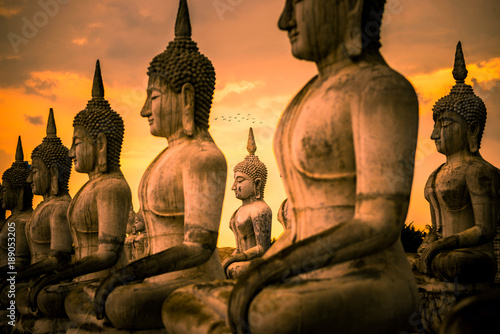Buddha images architecture in Wat Thung Yai in Nakhon Si Thammart , Thailand Canvas Print