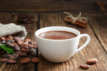 Hot Chocolate In The Cup On Th...