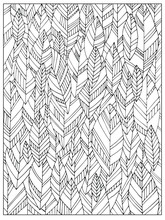 Hand Drawn Uncolored Abstract Adult Coloring Book Page With Autumn Leaves. Can Be Used As Adult Coloring Book, Coloring Page, Card, Illustration Vector