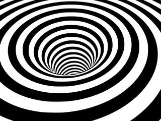 Streszczenie czarno-białe pasiaste złudzenie optyczne trójwymiarowy kształt wormholu geometrycznego