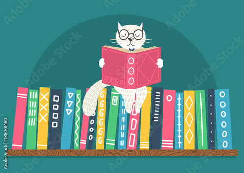 Bookshelf With Fantasy Clever White Cat Reading Book Different Color Books On Shelf Teal