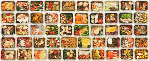Deurstickers Eten Set of take away food boxes at white background