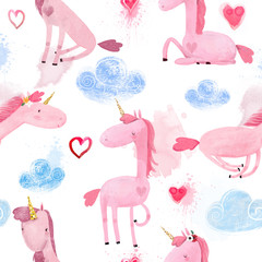 Seamless Pattern with Cartoon Unicorns