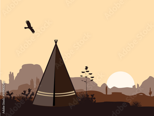 Canvas Print Indian wigwam silhouette with cacti, mountains, and eagle in the sky
