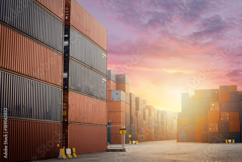 Fotografie, Obraz  Container Cargo freight box for logistic import export and shipping in port