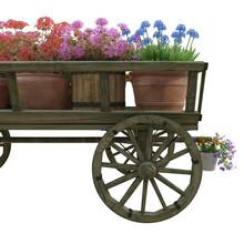 Wooden Cart Flower Pot