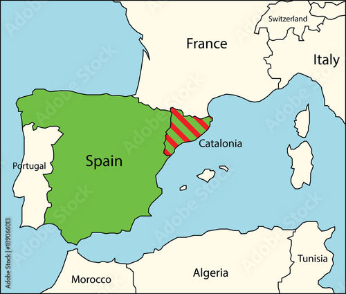 Map Of Spain And Catalonia.Political Map Of Spain With Catalonia Region Buy This Stock Vector
