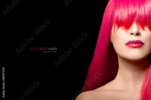 Fashion model girl with a long gradient hair. Hair color beauty concept