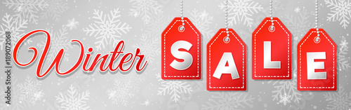 Photo Winter Sale - panoramic header. Vector.