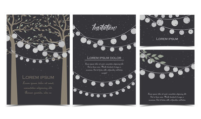 Vector illustration of trees with leaves and chain of lanterns. Invitation card, party celebration. Set of greeting cards