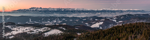 Keuken foto achterwand Zalm Morning panorama of snowy Tatra Mountains, Poland