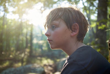 Boy Outdoors On Campout