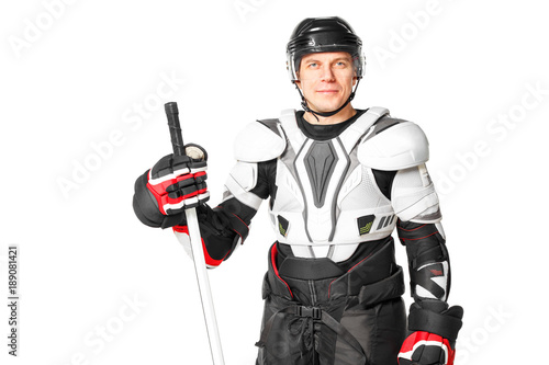 Smiling hockey player in safety gear isolated on white background Canvas Print