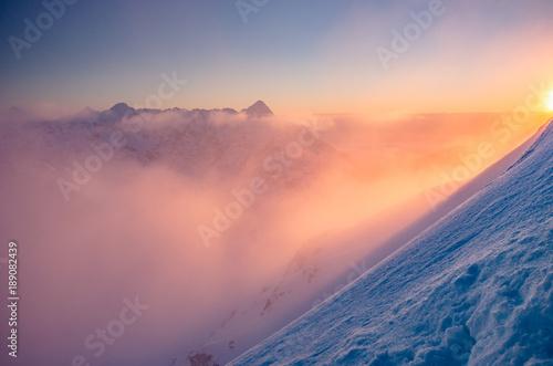 Photo Stands Sunset Beautiful mountain sunset panorama, cloudy Tatra mountains, Poland
