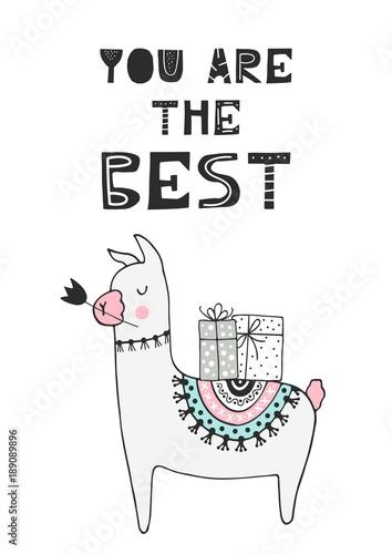 lama-z-kwiatem-i-prezentami-na-grzbiecie-oraz-napis-you-are-the-best