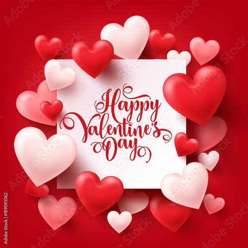 Valentines Day Abstract Background White Red Pink 3d Heart