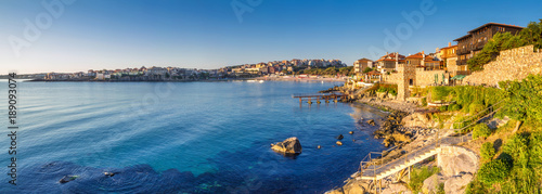 Printed kitchen splashbacks City on the water Coastal landscape banner, panorama - embankment with fortress wall in the city of Sozopol on the Black Sea coast in Bulgaria