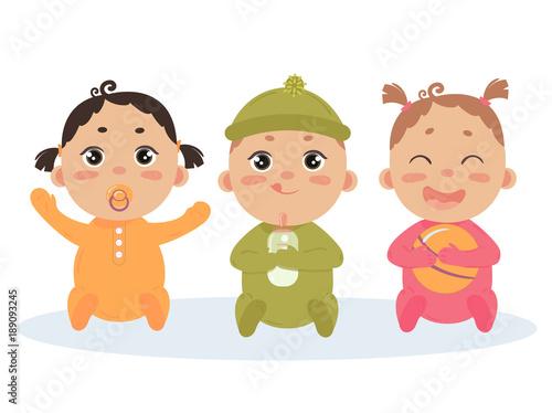 Cute vector set of three babies smiling Tapéta, Fotótapéta