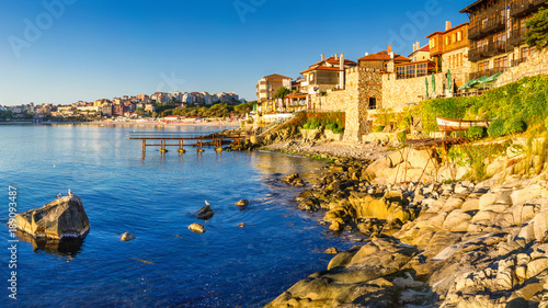 Foto auf Gartenposter Stadt am Wasser Coastal landscape banner, panorama - embankment with fortress wall in the city of Sozopol on the Black Sea coast in Bulgaria