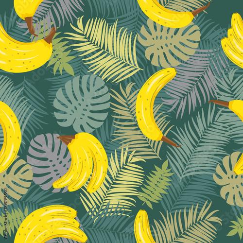 bezszwowy-wektoru-wzor-tropikalni-liscie-drzewko-palmowe-i-banan