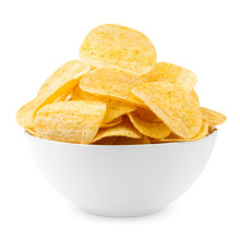Potato Chips Bowl Isolated On ...