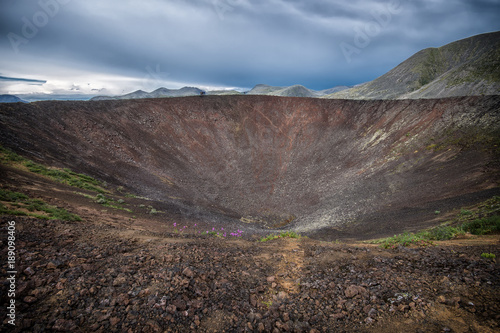 Papiers peints Cappuccino Old volcano crater, scenic summer landscape. Vulcan valley, Eastern Sayan mountains, Russia, Siberia.