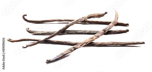 Foto op Plexiglas Indonesië Vanilla sticks on white background