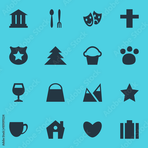Vector illustration of 16 map icons. Editable set of house, forest, theatre and other icon elements.