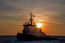 Tugboat In Lake Michigan Ice A...