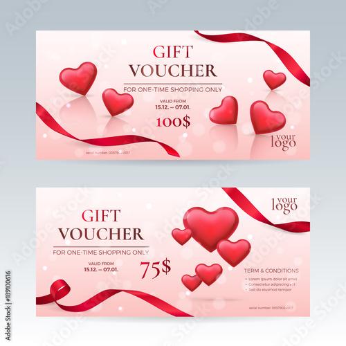 Vector Set Of Elegant Gift Vouchers For Valentines Day Celebration - Romantic gift certificate template