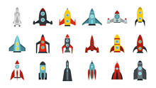 Space Ship Icon Set, Flat Style