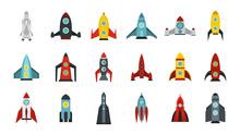 Space Ship Icon Set, Flat Style