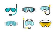 Sport Glasses Icon Set, Flat S...