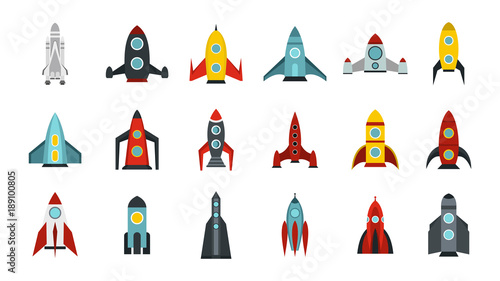 Space ship icon set, flat style Wallpaper Mural