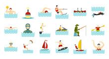 Water Activities Icon Set, Flat Style