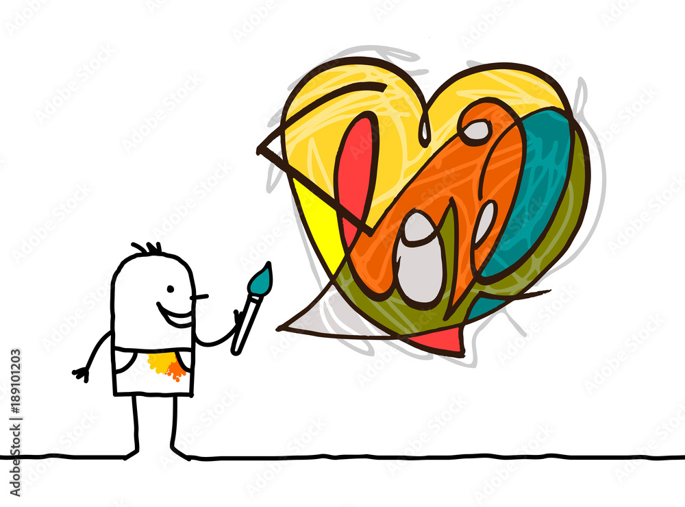 Cartoon Artist Painting a Modern Style Heart